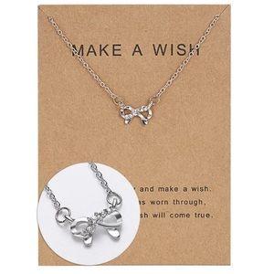 Make A Wish Silver Bow Ribbon Necklace